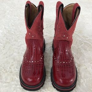 ARIAT FATBABY WESTERN BOOTS WOMEN 16460 RED 7.5